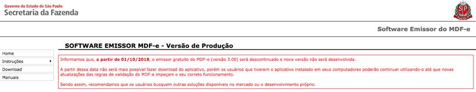 Noticia fim do emissor gratuito de MDF-e SEFAZ/SP