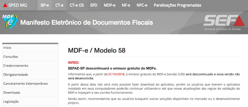 Notifica do fim do emissor gratis de MDF-e SEFAZ/MG