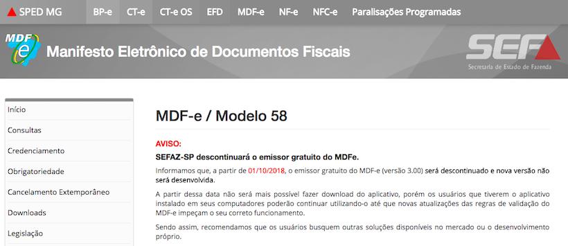Notifica do fim do emissor gratis de MDF-e SEFAZ/MG